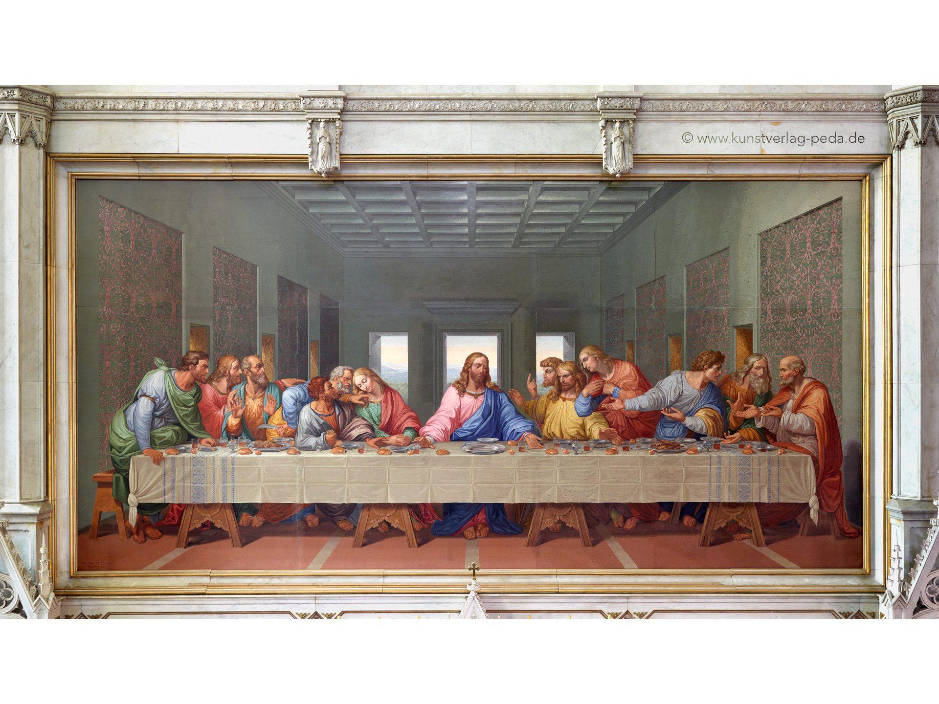 Das Cenacolo-Mosaik in der Minoriten Kirche, 9,18 x 4,47 m Nachbildung des berühmten Wandfreskos von Leonardo da Vinci in der Größe des Originals von Giacomo Raffaelli in den Jahren 1805-1814 für Napoleon angefertigt.